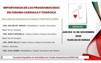 Webinar de SORECAR sobre programas ERAS en cirugía cardiaca y torácica
